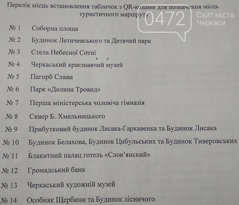 Туристичні маршрути Черкас будуть позначені табличками з QR-кодами (перелік), фото-1